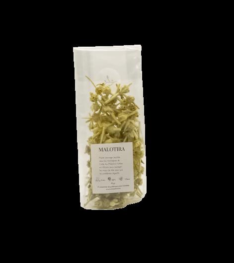 Plante sauvage récoltée dans les montagnes de Crète. Le Malotira s'utilise en infusion pour soulager les maux de tête ainsi que les problèmes digestifs.